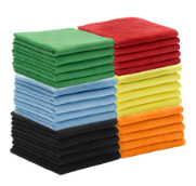 stack of color coded microfiber cloths for cleaning