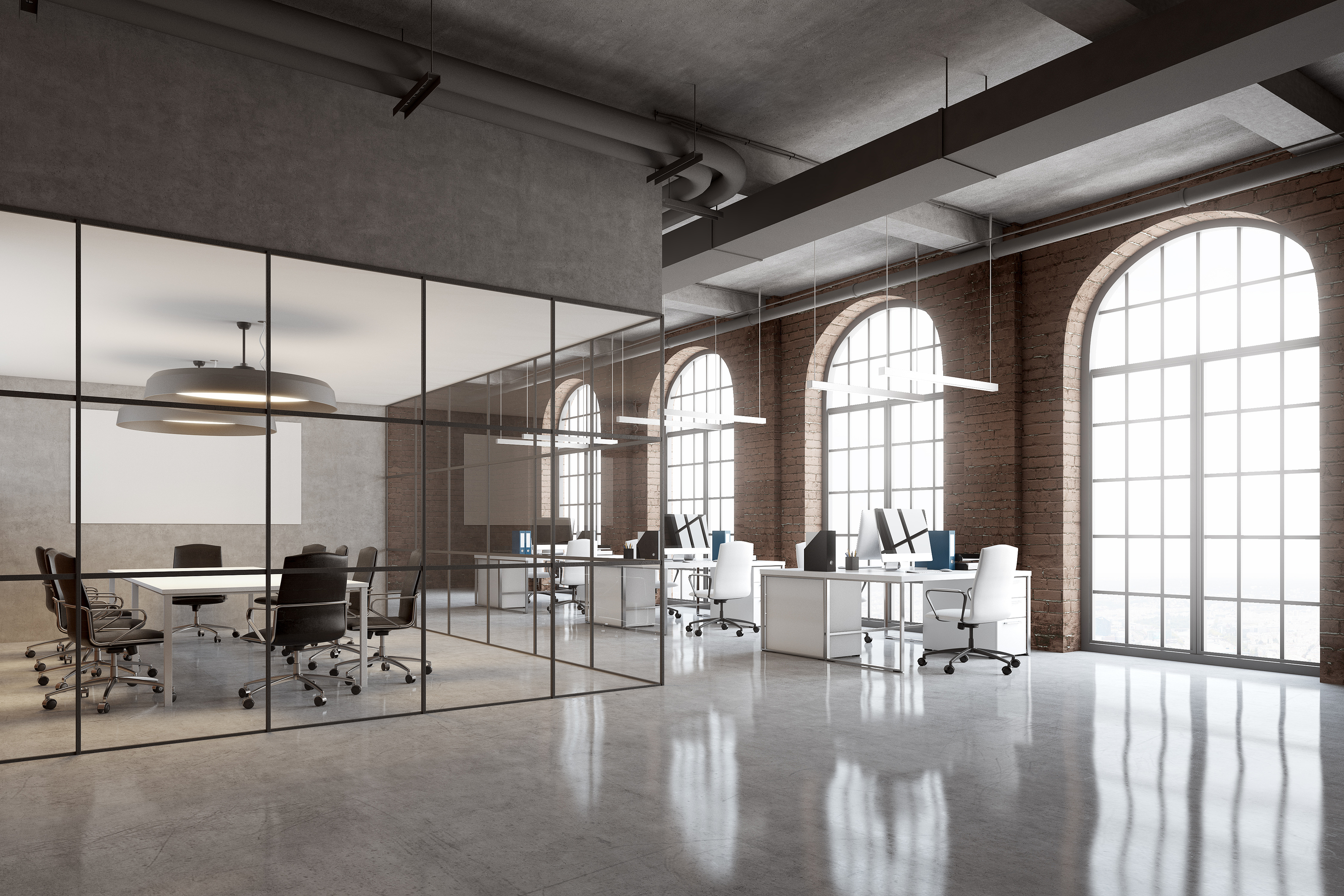 Office and building commercial cleaning of a modern open workplace in an with vinyl floors and glass doors