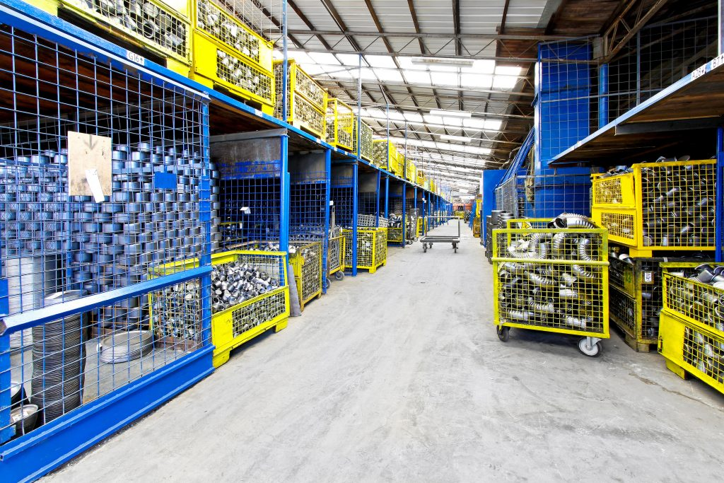 Big warehouse in industrial facility distribution and concrete floors