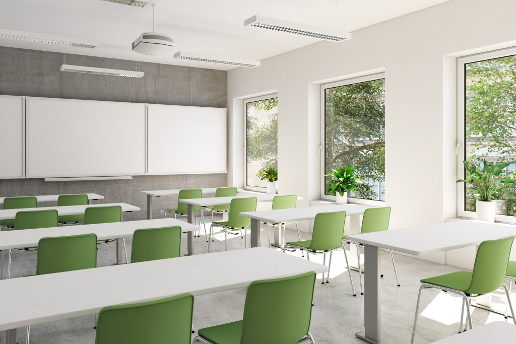 clean classroom in education facility with vinyl floors and windows