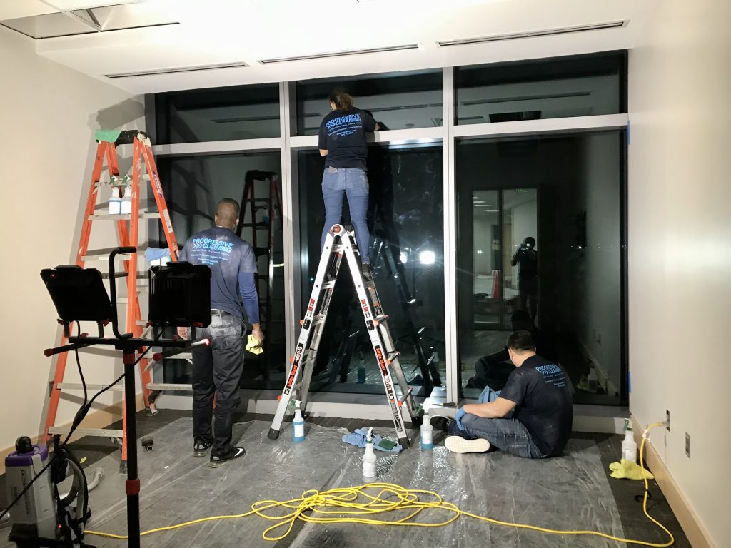 post construction cleaning in the evening and window cleaning